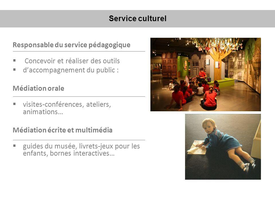 Responsable du service pédagogique Concevoir et réaliser des outils daccompagnement du public : Médiation orale visites-conférences, ateliers, animati