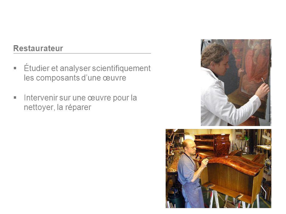 Restaurateur Étudier et analyser scientifiquement les composants dune œuvre Intervenir sur une œuvre pour la nettoyer, la réparer