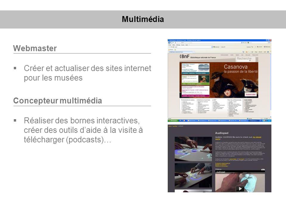 Webmaster Créer et actualiser des sites internet pour les musées Concepteur multimédia Réaliser des bornes interactives, créer des outils daide à la v