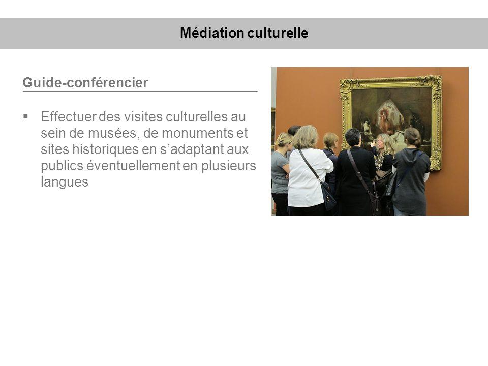 Guide-conférencier Effectuer des visites culturelles au sein de musées, de monuments et sites historiques en sadaptant aux publics éventuellement en p