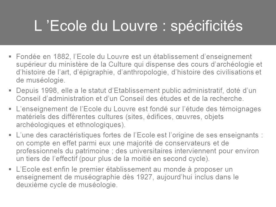 L Ecole du Louvre : spécificités Fondée en 1882, lEcole du Louvre est un établissement denseignement supérieur du ministère de la Culture qui dispense