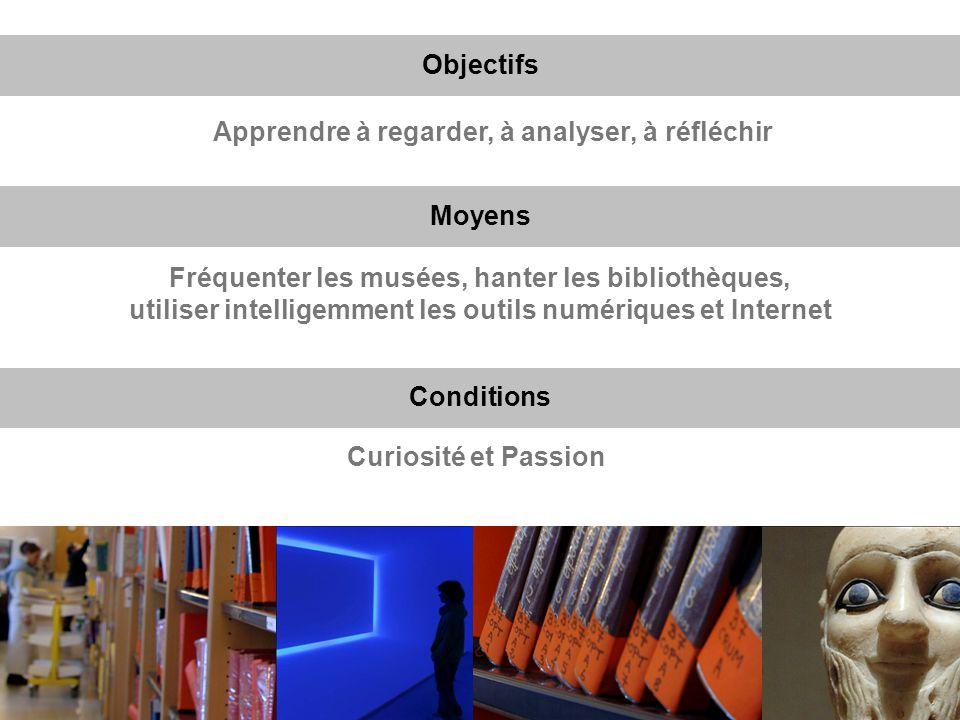 Fréquenter les musées, hanter les bibliothèques, utiliser intelligemment les outils numériques et Internet Objectifs Moyens Apprendre à regarder, à an