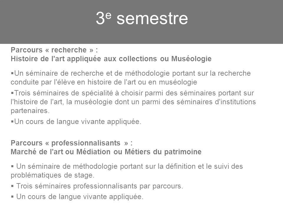 3 e semestre Parcours « recherche » : Histoire de l'art appliquée aux collections ou Muséologie Un séminaire de recherche et de méthodologie portant s