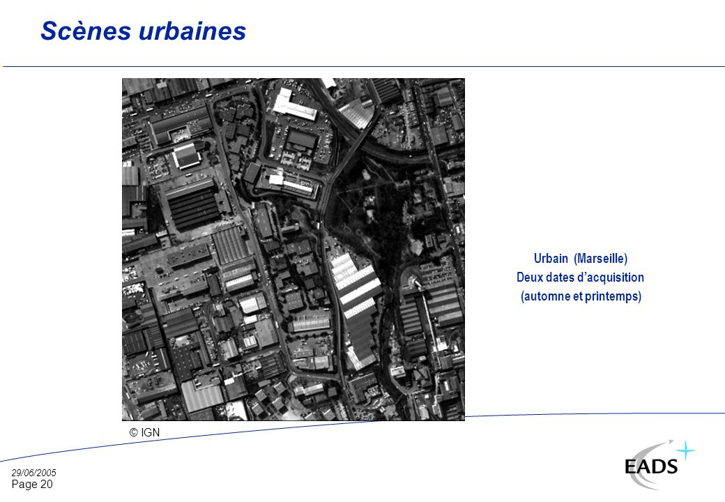 29/06/2005 Page 20 Scènes urbaines © IGN Urbain (Marseille) Deux dates dacquisition (automne et printemps)
