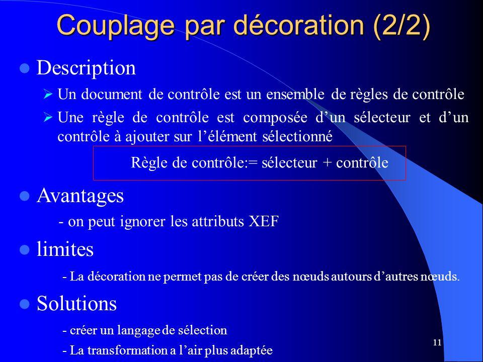 11 Couplage par décoration (2/2) Description Un document de contrôle est un ensemble de règles de contrôle Une règle de contrôle est composée dun sélecteur et dun contrôle à ajouter sur lélément sélectionné Avantages - on peut ignorer les attributs XEF limites - La décoration ne permet pas de créer des nœuds autours dautres nœuds.