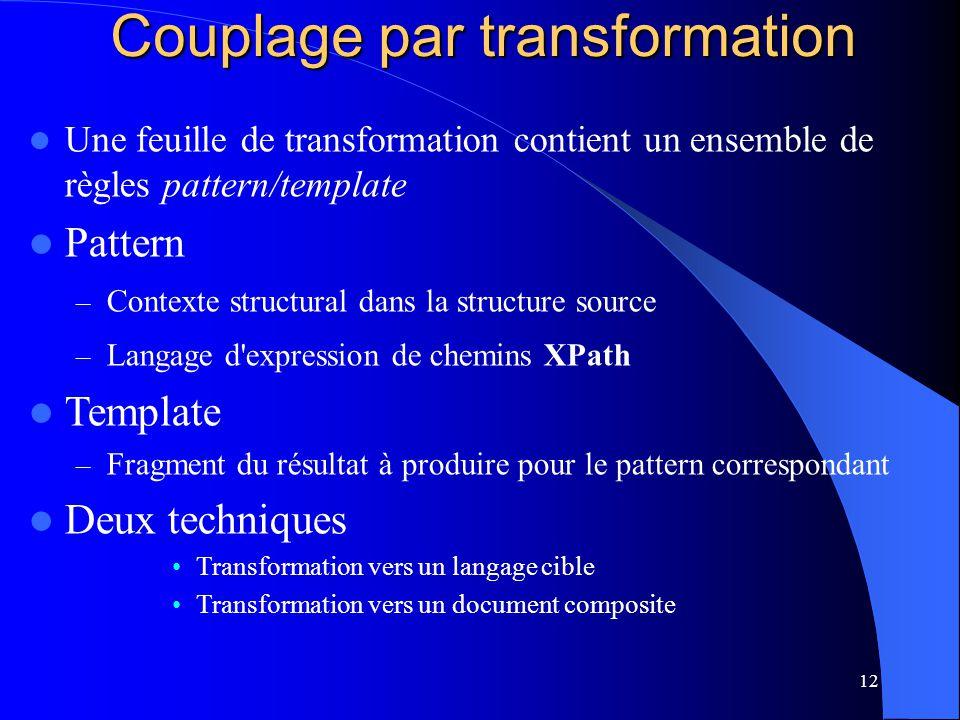 12 Une feuille de transformation contient un ensemble de règles pattern/template Pattern – Contexte structural dans la structure source – Langage d'ex