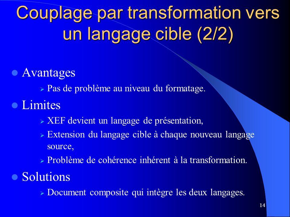 14 Avantages Pas de problème au niveau du formatage. Limites XEF devient un langage de présentation, Extension du langage cible à chaque nouveau langa