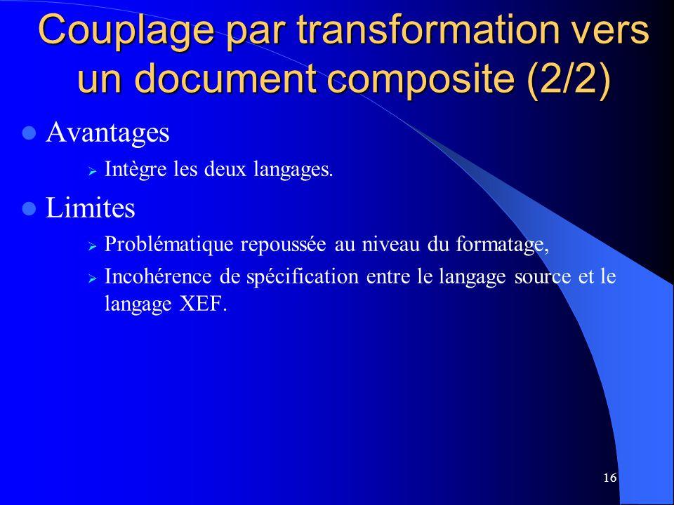16 Avantages Intègre les deux langages. Limites Problématique repoussée au niveau du formatage, Incohérence de spécification entre le langage source e