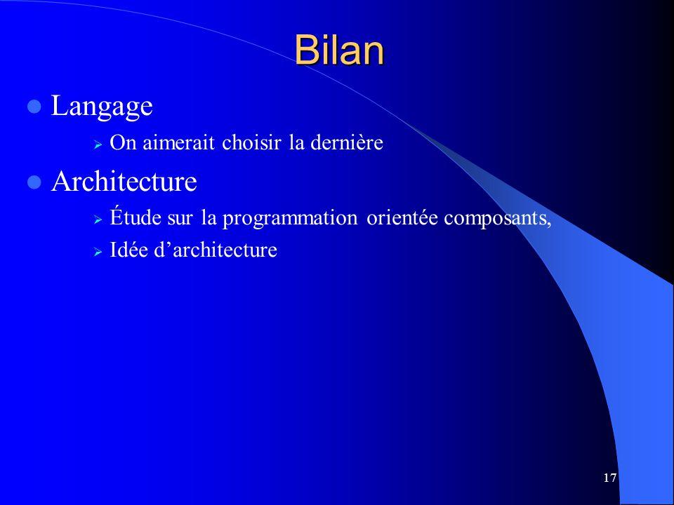 17 Langage On aimerait choisir la dernière Architecture Étude sur la programmation orientée composants, Idée darchitecture Bilan