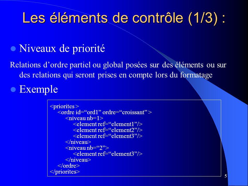5 Niveaux de priorité Relations dordre partiel ou global posées sur des éléments ou sur des relations qui seront prises en compte lors du formatage Exemple Les éléments de contrôle (1/3) :