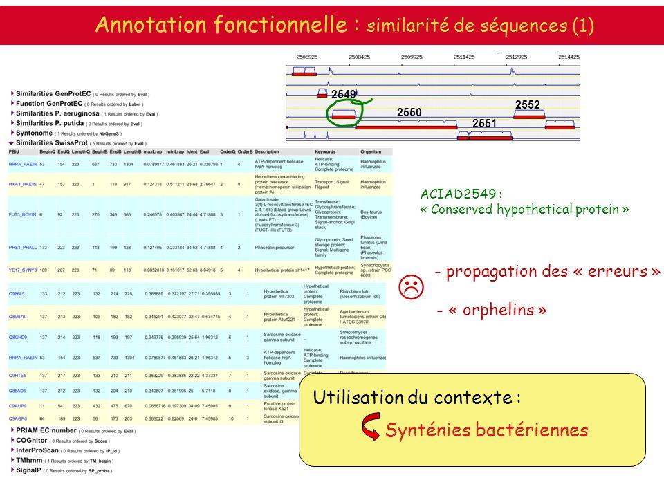 ACIAD2549 : « Conserved hypothetical protein » Synténies bactériennes Utilisation du contexte : 2549 2550 2551 2552 Annotation fonctionnelle : similar
