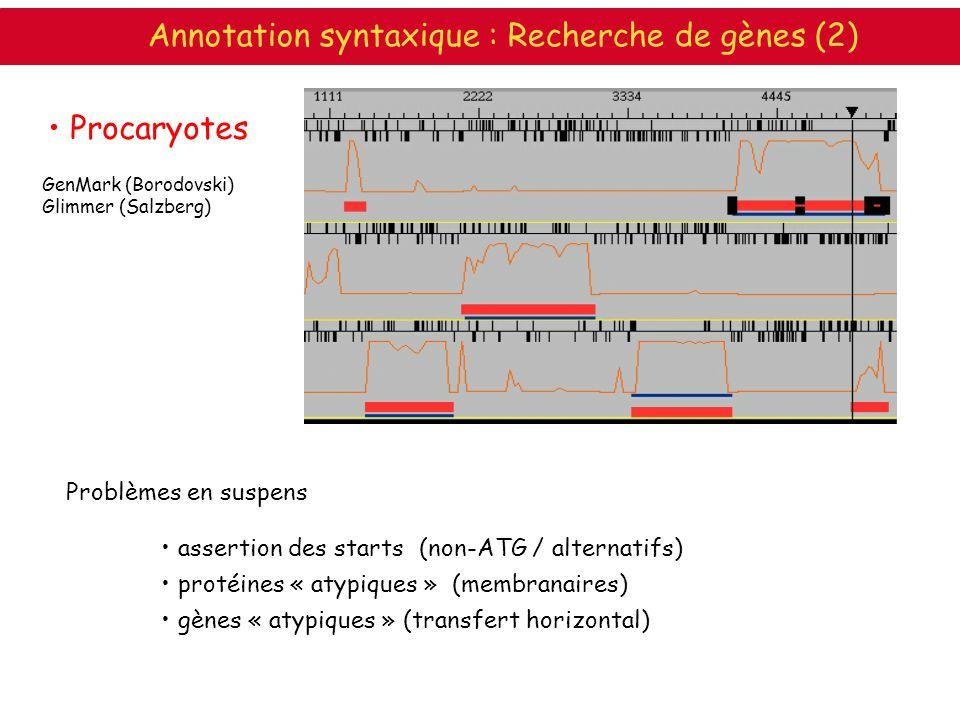 Procaryotes Problèmes en suspens assertion des starts (non-ATG / alternatifs) protéines « atypiques » (membranaires) gènes « atypiques » (transfert ho