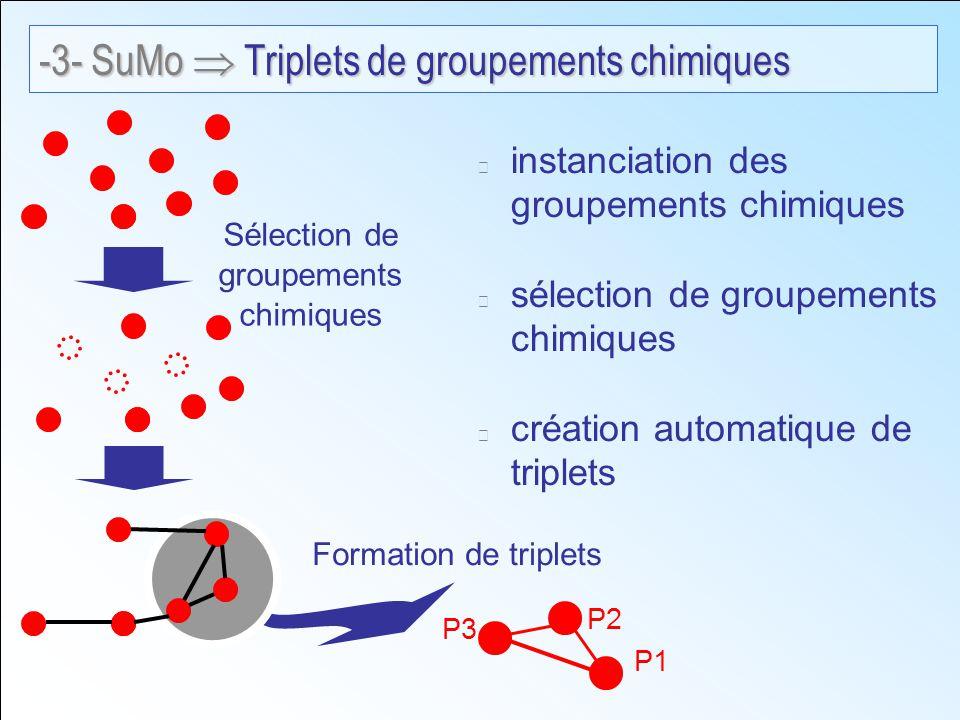 instanciation des groupements chimiques sélection de groupements chimiques création automatique de triplets Formation de triplets Sélection de groupements chimiques P1 P2 P3 -3- SuMo Triplets de groupements chimiques