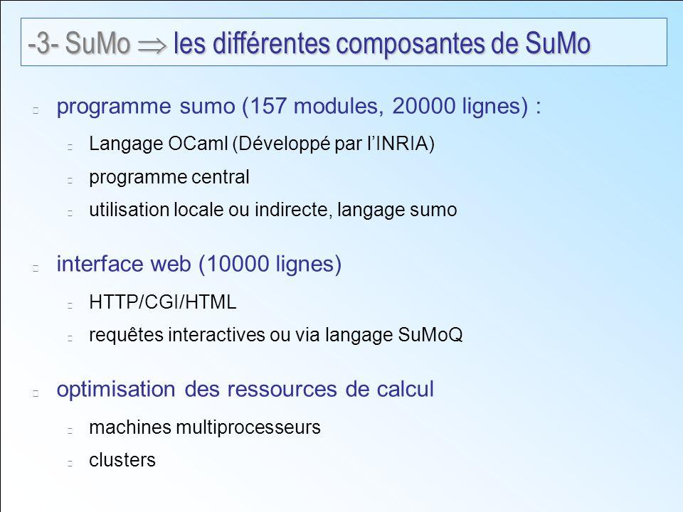 programme sumo (157 modules, 20000 lignes) : Langage OCaml (Développé par lINRIA) programme central utilisation locale ou indirecte, langage sumo interface web (10000 lignes) HTTP/CGI/HTML requêtes interactives ou via langage SuMoQ optimisation des ressources de calcul machines multiprocesseurs clusters -3- SuMo les différentes composantes de SuMo