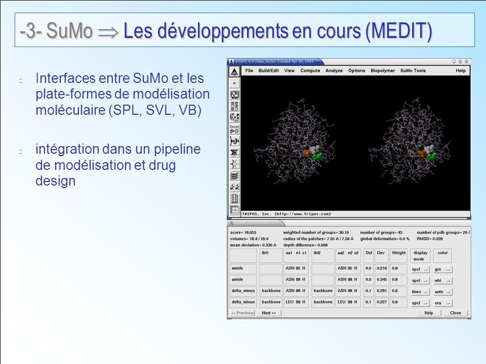 Interfaces entre SuMo et les plate-formes de modélisation moléculaire (SPL, SVL, VB) intégration dans un pipeline de modélisation et drug design -3- SuMo Les développements en cours (MEDIT)