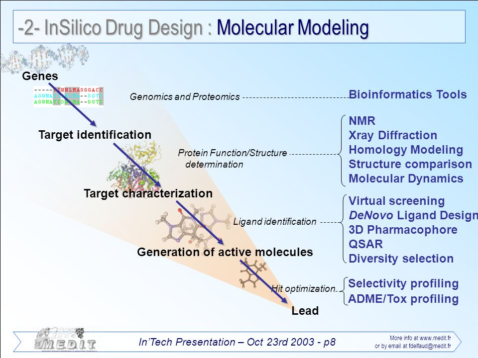 InTech Presentation – Oct 23rd 2003 - p8 More info at www.medit.fr or by email at fdelfaud@medit.fr -2- InSilico Drug Design : Molecular Modeling Gene