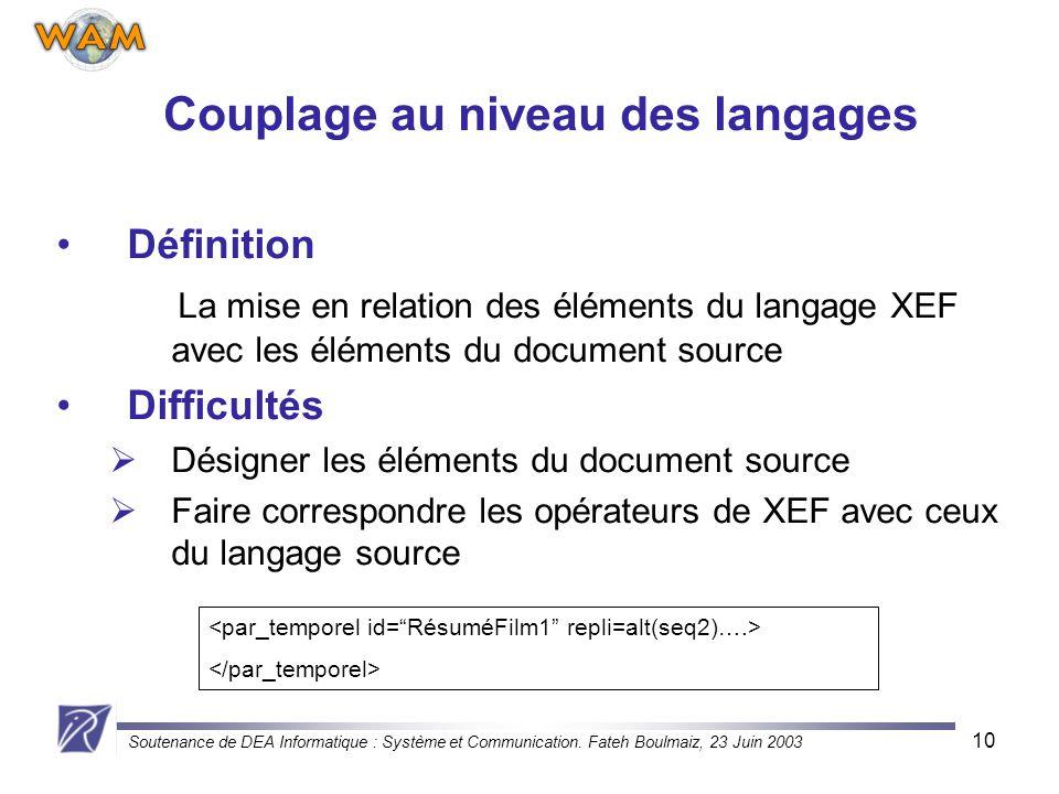 Soutenance de DEA Informatique : Système et Communication. Fateh Boulmaiz, 23 Juin 2003 10 Couplage au niveau des langages Définition La mise en relat