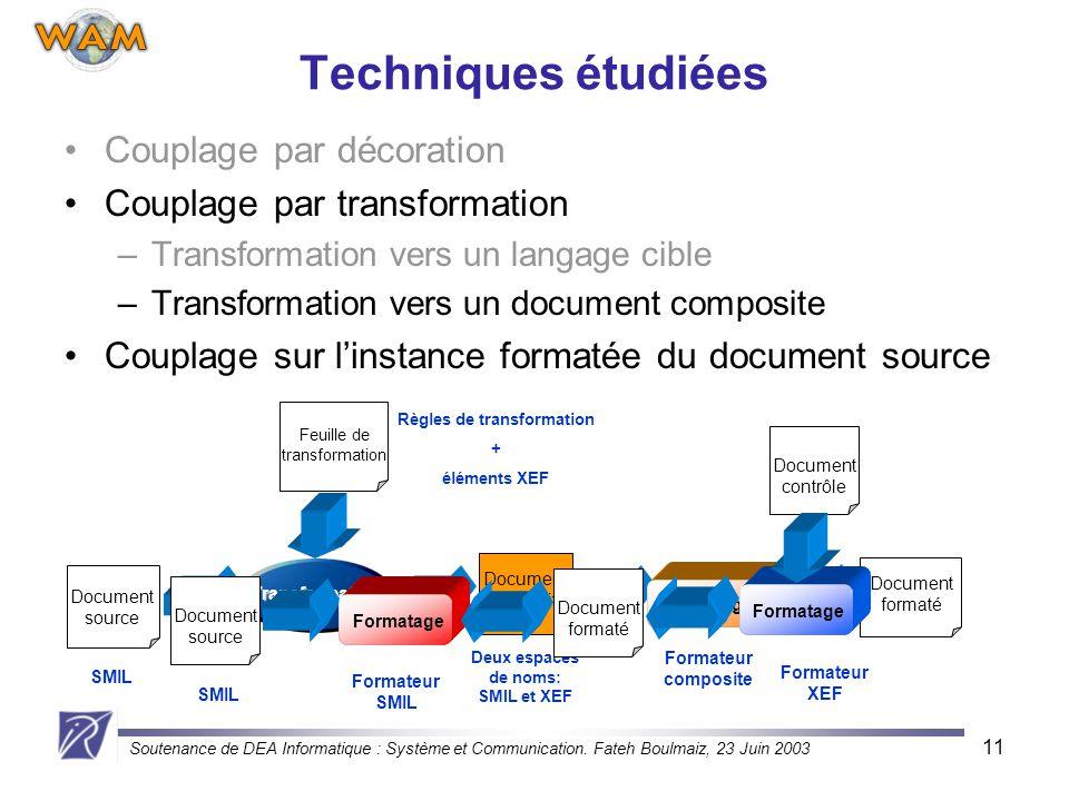 Soutenance de DEA Informatique : Système et Communication. Fateh Boulmaiz, 23 Juin 2003 11 Techniques étudiées Couplage par décoration Couplage par tr