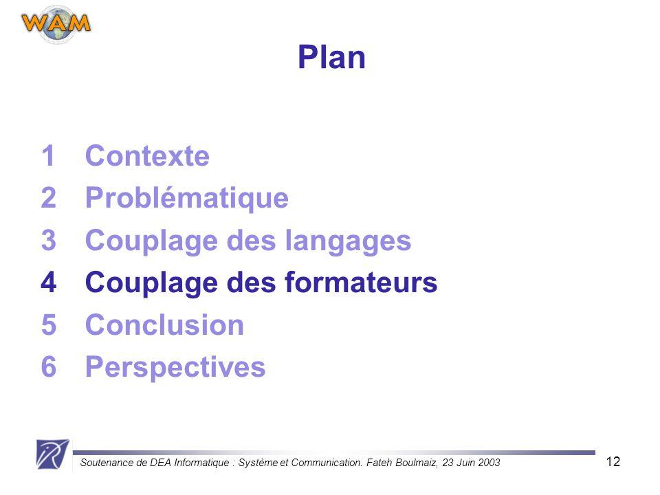 Soutenance de DEA Informatique : Système et Communication. Fateh Boulmaiz, 23 Juin 2003 12 Plan 1Contexte 2Problématique 3Couplage des langages 4Coupl