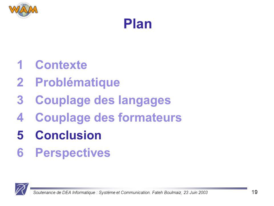 Soutenance de DEA Informatique : Système et Communication. Fateh Boulmaiz, 23 Juin 2003 19 Plan 1Contexte 2Problématique 3Couplage des langages 4Coupl