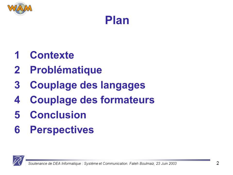 Soutenance de DEA Informatique : Système et Communication. Fateh Boulmaiz, 23 Juin 2003 2 Plan 1Contexte 2Problématique 3Couplage des langages 4Coupla