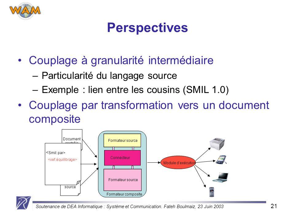 Soutenance de DEA Informatique : Système et Communication. Fateh Boulmaiz, 23 Juin 2003 21 Perspectives Couplage à granularité intermédiaire –Particul