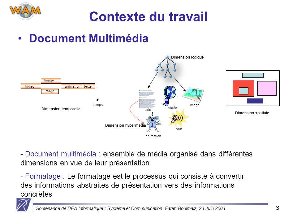 Soutenance de DEA Informatique : Système et Communication. Fateh Boulmaiz, 23 Juin 2003 3 Dimension logique Document Multimédia image son vidéo animat
