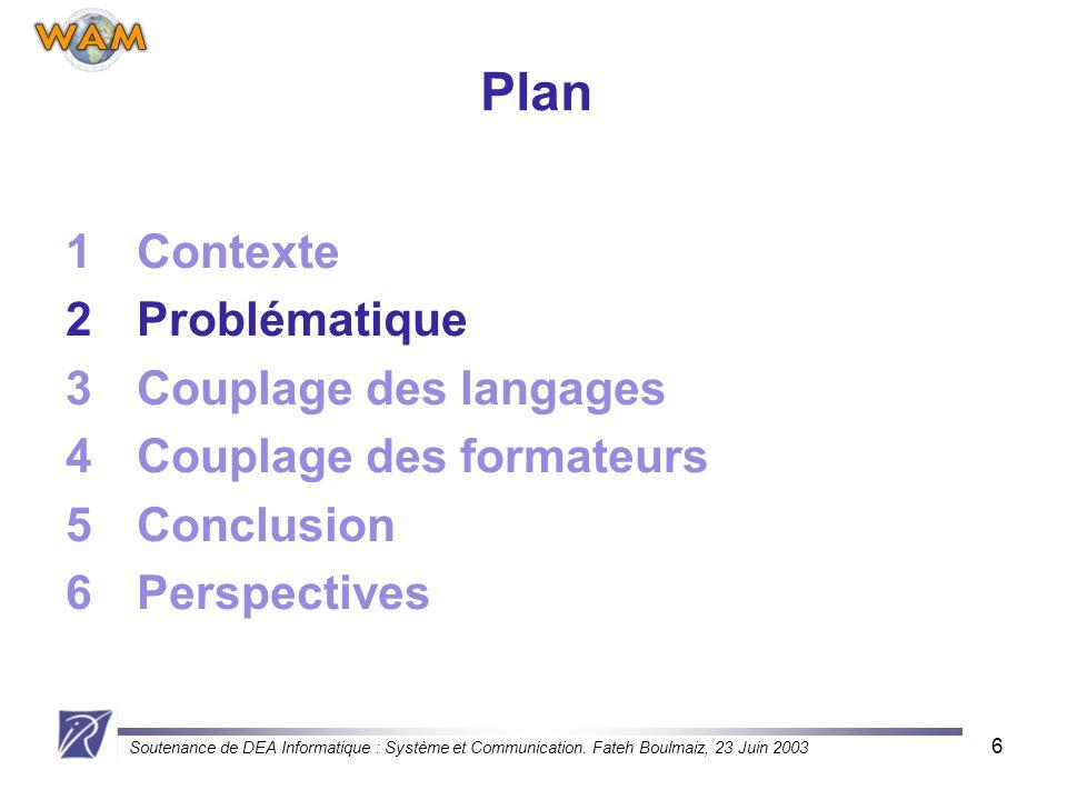 Soutenance de DEA Informatique : Système et Communication. Fateh Boulmaiz, 23 Juin 2003 6 Plan 1Contexte 2Problématique 3Couplage des langages 4Coupla