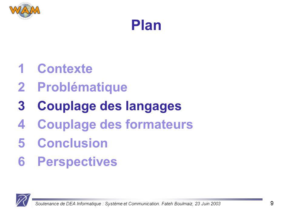 Soutenance de DEA Informatique : Système et Communication. Fateh Boulmaiz, 23 Juin 2003 9 Plan 1Contexte 2Problématique 3Couplage des langages 4Coupla
