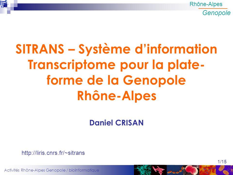 Activités Rhône-Alpes Genopole / bioinformatique Rhône-Alpes Genopole 1/15 SITRANS – Système dinformation Transcriptome pour la plate- forme de la Gen