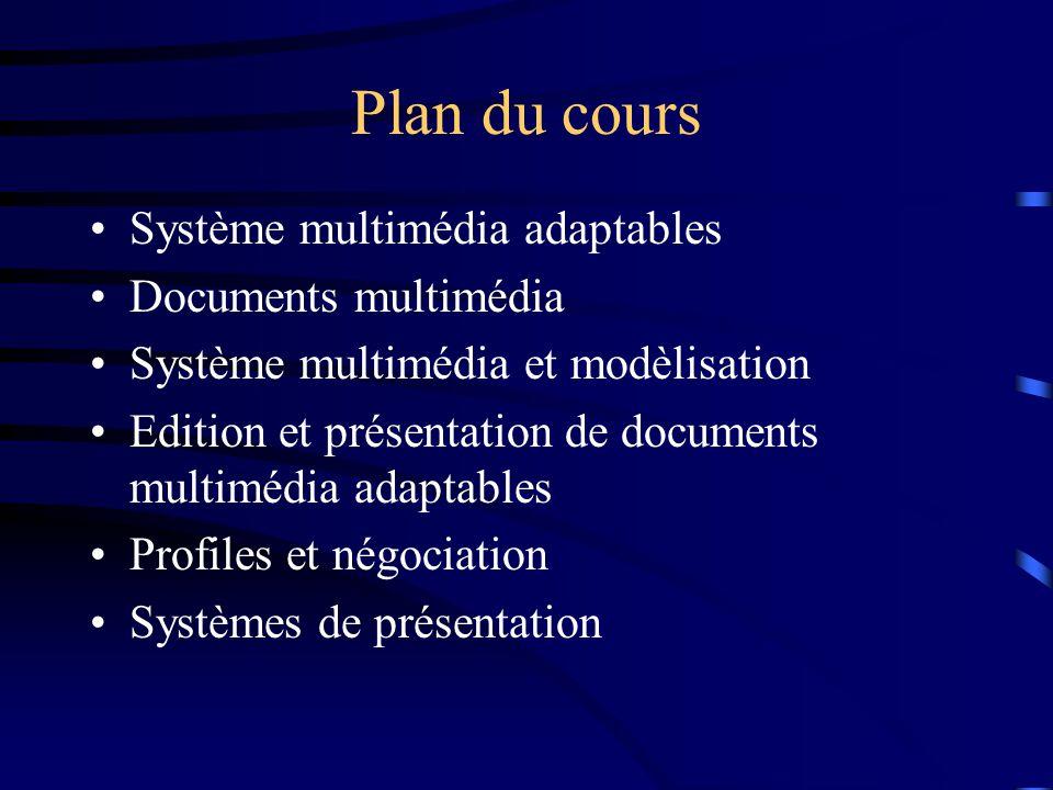 Plan du cours Système multimédia adaptables Documents multimédia Système multimédia et modèlisation Edition et présentation de documents multimédia adaptables Profiles et négociation Systèmes de présentation