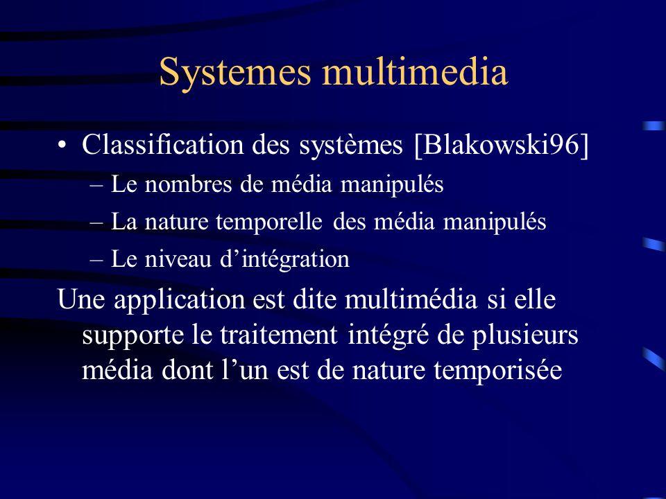 Systemes multimedia Classification des systèmes [Blakowski96] –Le nombres de média manipulés –La nature temporelle des média manipulés –Le niveau dintégration Une application est dite multimédia si elle supporte le traitement intégré de plusieurs média dont lun est de nature temporisée