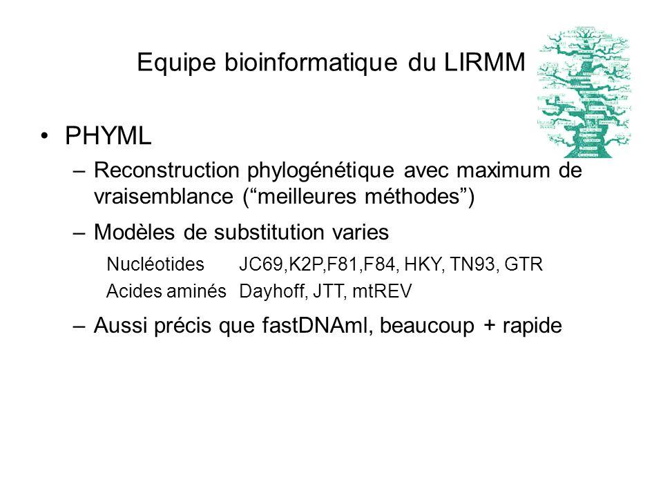 PHYML –Reconstruction phylogénétique avec maximum de vraisemblance (meilleures méthodes) –Modèles de substitution varies NucléotidesJC69,K2P,F81,F84,