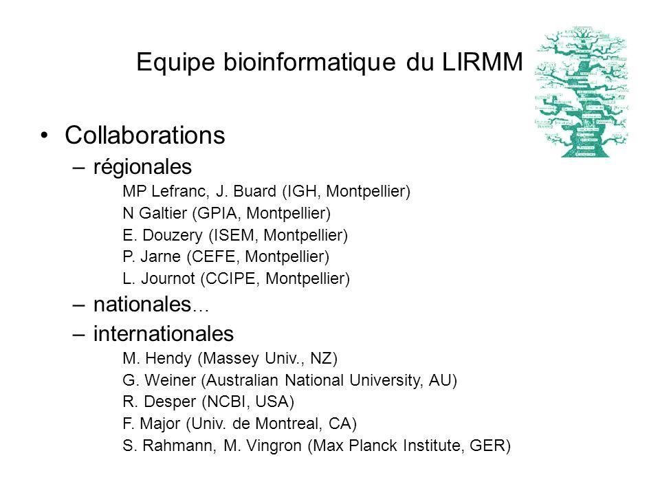 Equipe bioinformatique du LIRMM Collaborations –régionales MP Lefranc, J. Buard (IGH, Montpellier) N Galtier (GPIA, Montpellier) E. Douzery (ISEM, Mon