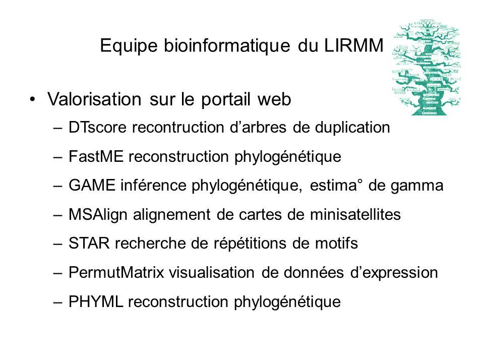 Equipe bioinformatique du LIRMM Valorisation sur le portail web –DTscore recontruction darbres de duplication –FastME reconstruction phylogénétique –G