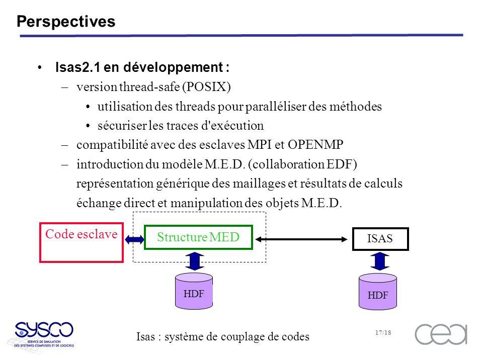 Isas : système de couplage de codes 17/18 Perspectives Isas2.1 en développement : –version thread-safe (POSIX) utilisation des threads pour paralléliser des méthodes sécuriser les traces d exécution –compatibilité avec des esclaves MPI et OPENMP –introduction du modèle M.E.D.