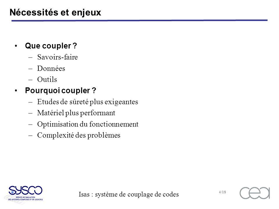 Isas : système de couplage de codes 4/18 Nécessités et enjeux Que coupler .