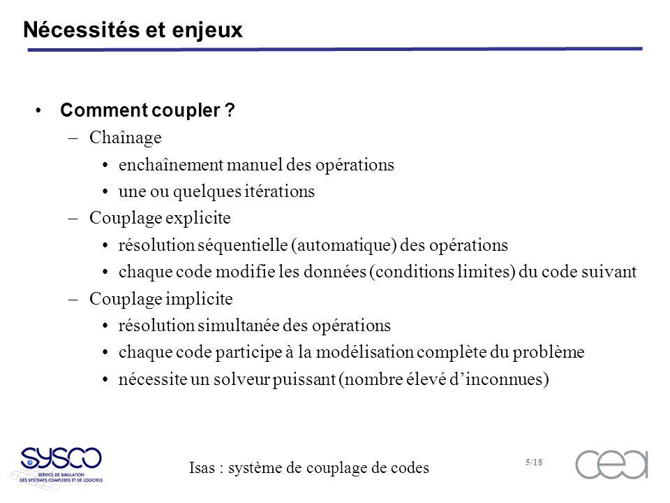 Isas : système de couplage de codes 5/18 Nécessités et enjeux Comment coupler .