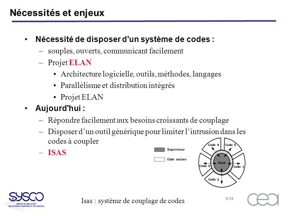 Isas : système de couplage de codes 9/18 Description d Isas Caractéristiques générales –permet de piloter plusieurs codes –sur une ou plusieurs machines –un superviseur avec un langage de commande –un code esclave est un objet avec ses méthodes Choix techniques –Isas écrit en C –Langage interface: OCAML* dans le superviseur OCAML, C, F77 dans les esclaves –Librairie de communication : PVM** * http://www.inria.fr ** http://www.ornl.gov PORTABILITE SOUPLESSE SIMPLICITE