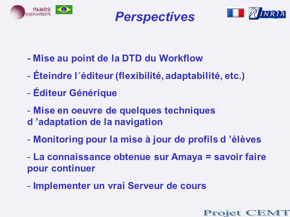 Perspectives - Mise au point de la DTD du Workflow - Éteindre l´éditeur (flexibilité, adaptabilité, etc.) - Éditeur Générique - Mise en oeuvre de quel