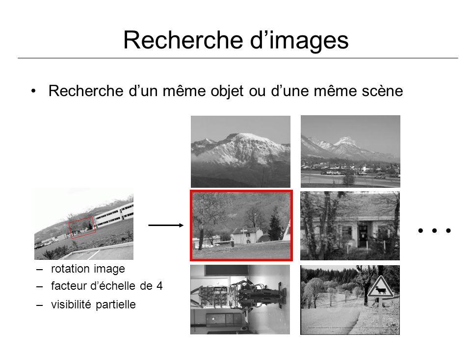 Recherche dimages Recherche dun même objet ou dune même scène … –rotation image –facteur déchelle de 4 –visibilité partielle