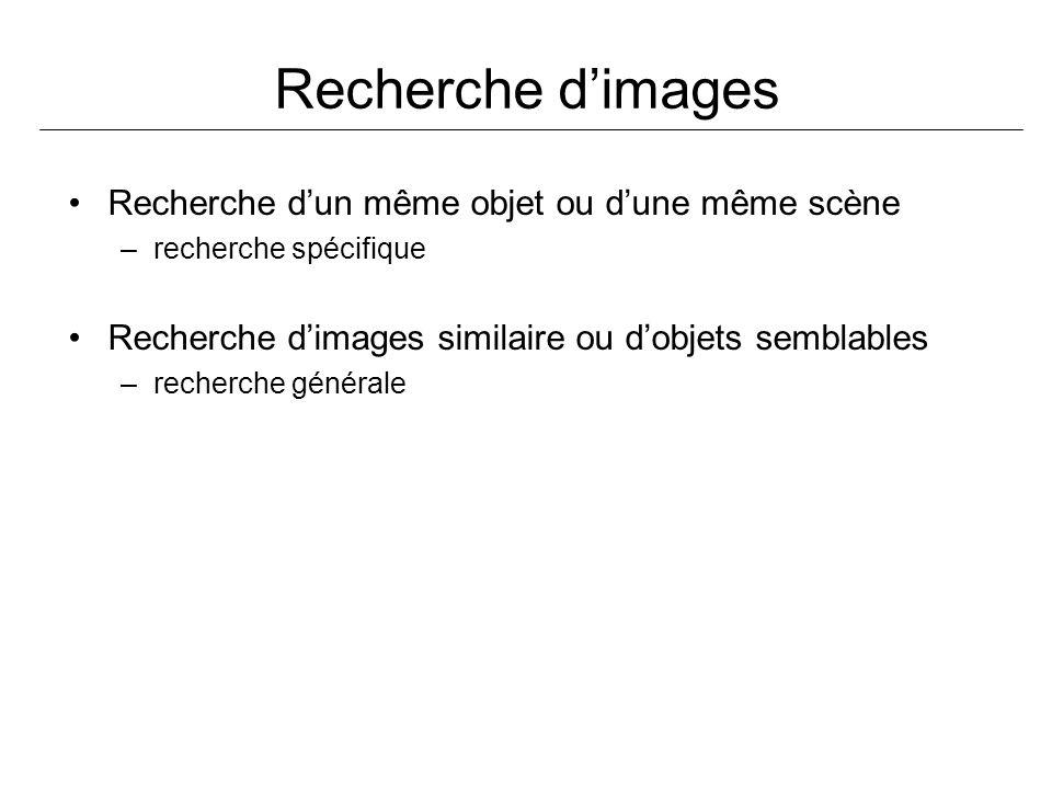 Recherche dimages Recherche dun même objet ou dune même scène –recherche spécifique Recherche dimages similaire ou dobjets semblables –recherche générale