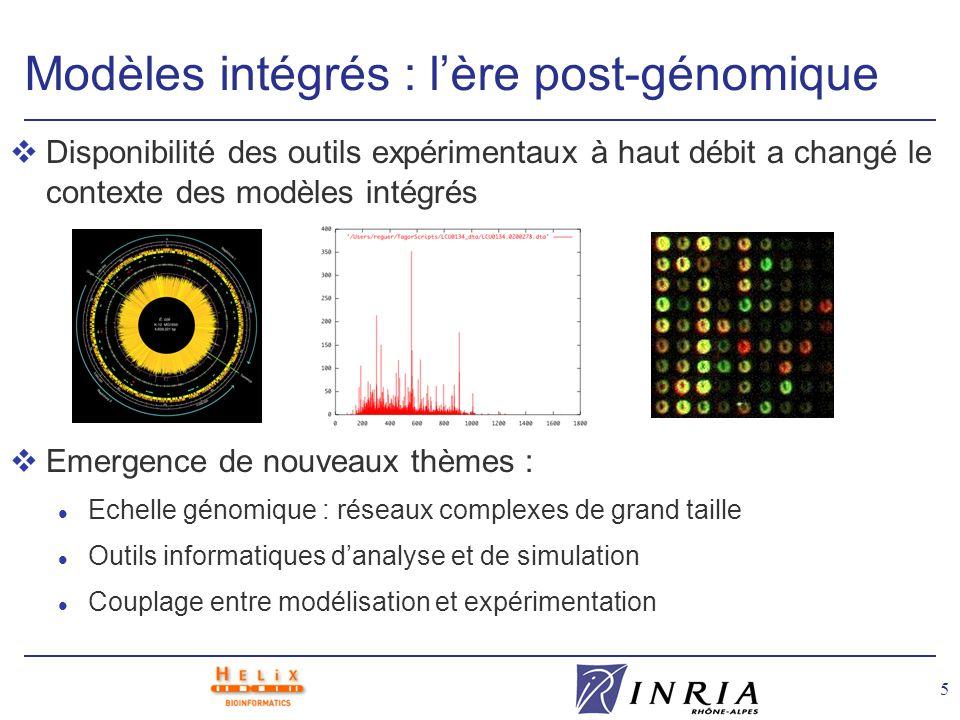 5 Modèles intégrés : lère post-génomique vDisponibilité des outils expérimentaux à haut débit a changé le contexte des modèles intégrés vEmergence de