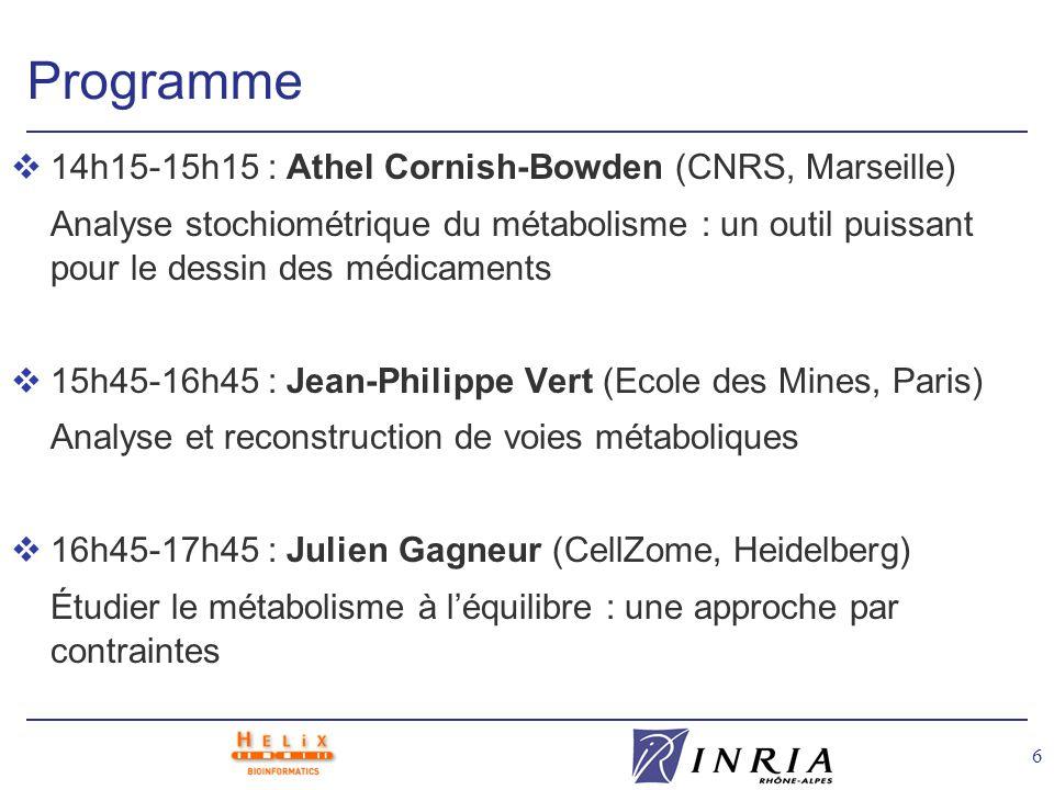 6 Programme v14h15-15h15 : Athel Cornish-Bowden (CNRS, Marseille) Analyse stochiométrique du métabolisme : un outil puissant pour le dessin des médica