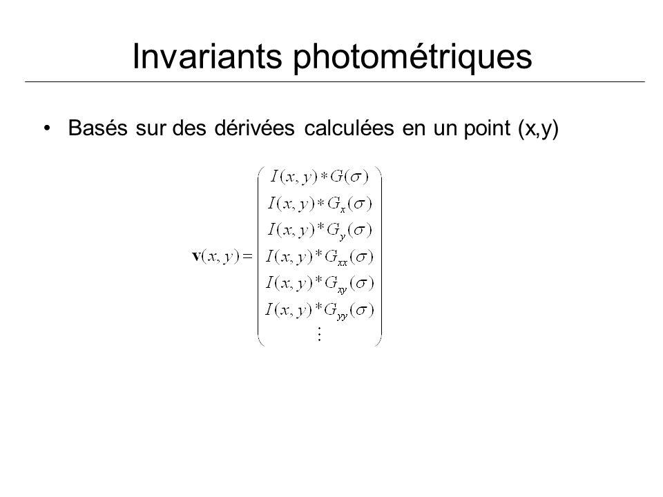 Invariants photométriques Basés sur des dérivées calculées en un point (x,y)