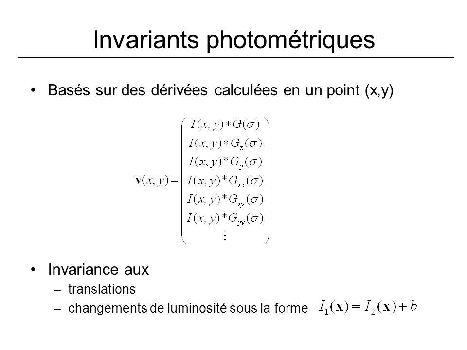 Invariants photométriques Basés sur des dérivées calculées en un point (x,y) Invariance aux –translations –changements de luminosité sous la forme