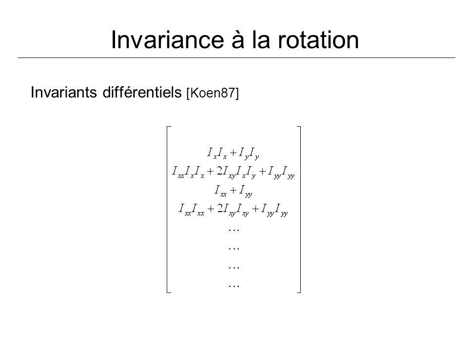 Invariance à la rotation Invariants différentiels [Koen87]