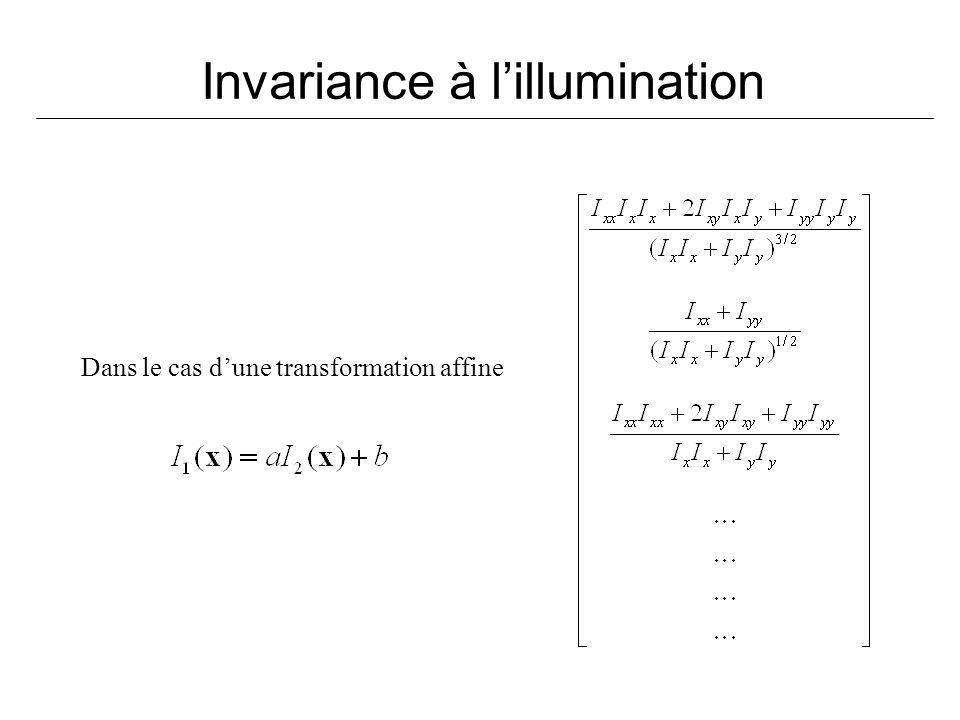 Invariance à lillumination Dans le cas dune transformation affine