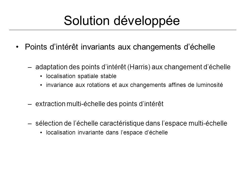 Solution développée Points dintérêt invariants aux changements déchelle –adaptation des points dintérêt (Harris) aux changement déchelle localisation