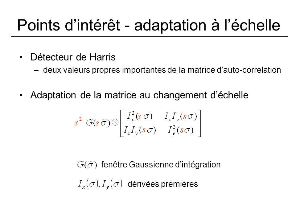 Points dintérêt - adaptation à léchelle Détecteur de Harris –deux valeurs propres importantes de la matrice dauto-correlation Adaptation de la matrice